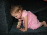 Toddler snacking in sofa