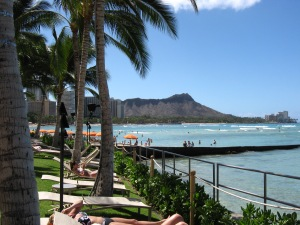 View of Diamond Head from Waikiki Beach, Oahu